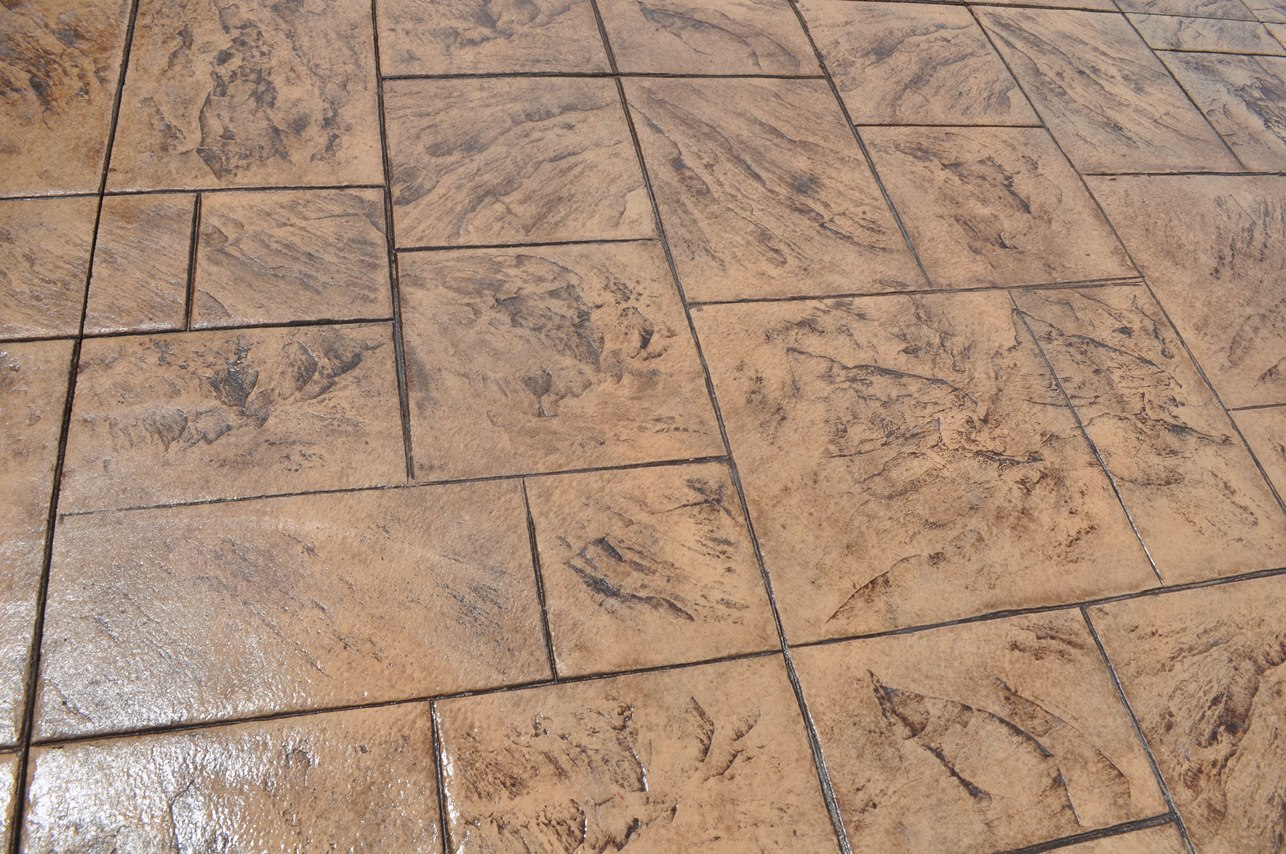 Stamped large ashlar slate, desert sand, autumn brown