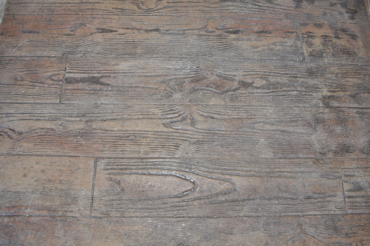 Stamped, 6in wood plank pattern, Mesa Buff, Autumn Brown, Dark Walnut
