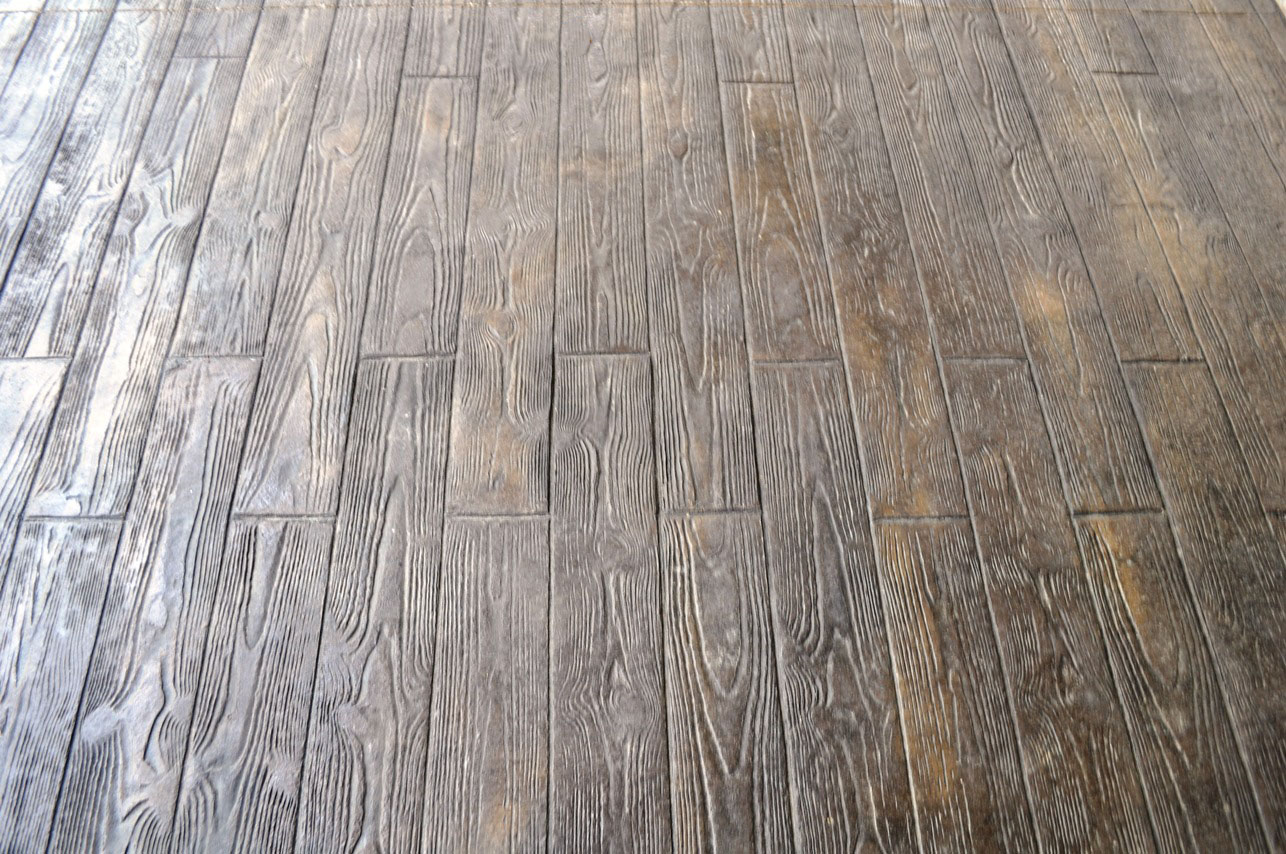 Stamped, Wood Plank pattern, Dark Walnut, Splash of Mesa Buff, Charcoal Gray