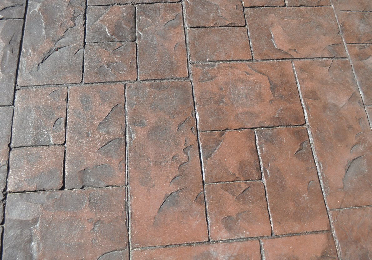 Stamped Ashlar Cut Slate pattern, Rust Brown, Autumn Brown
