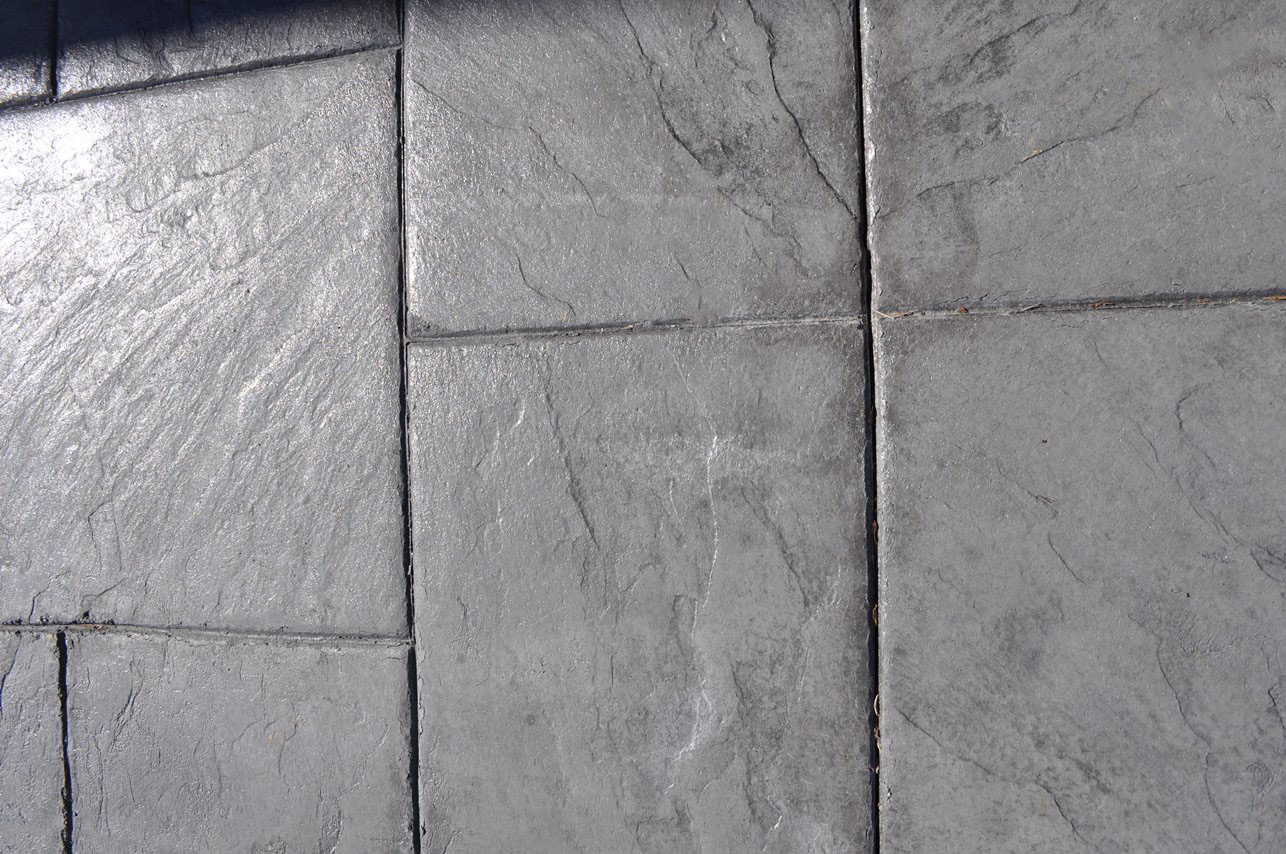 Stamped Large Ashlar Slate pattern, Solomon Colors Smoke, Artcrete Charcoal Gray
