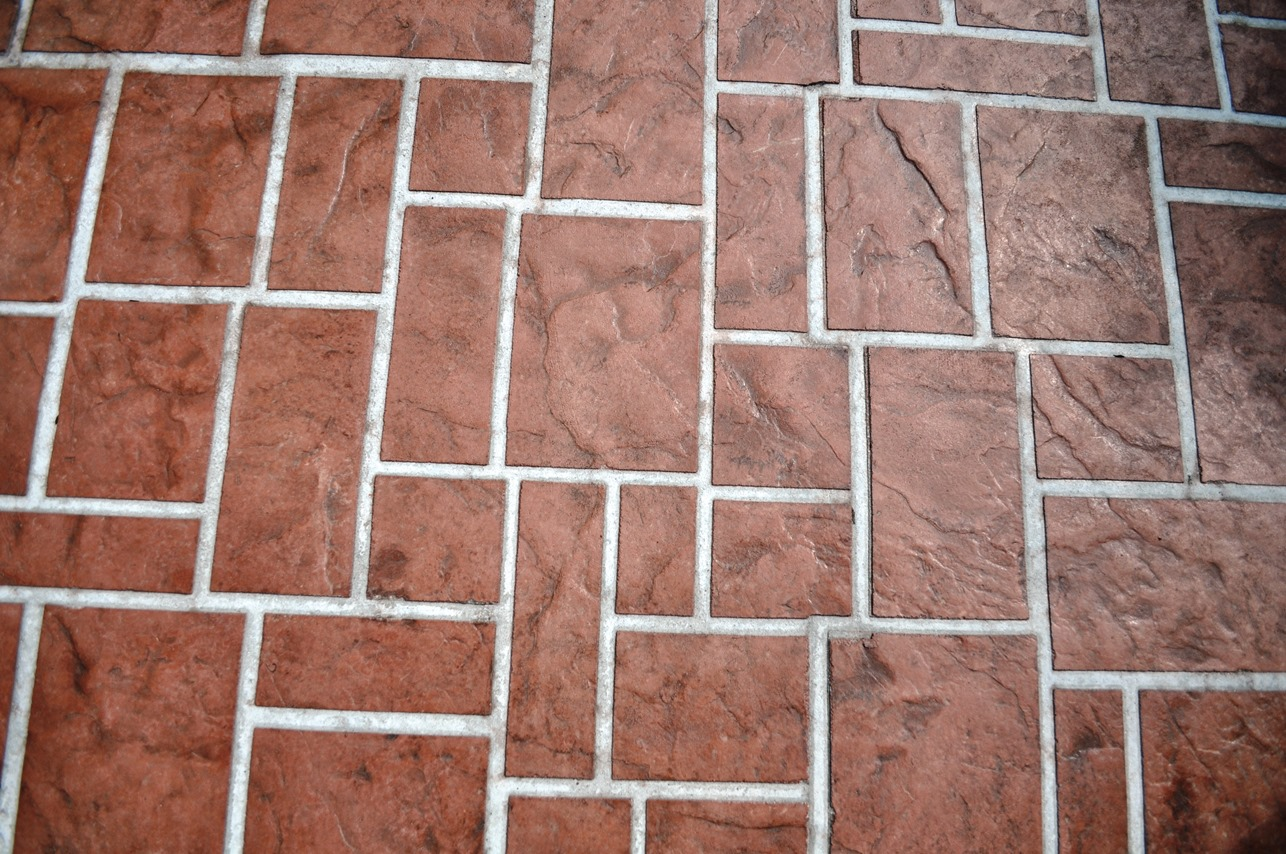 ashlar slate stencil, rust brown, autumn brown, champagne