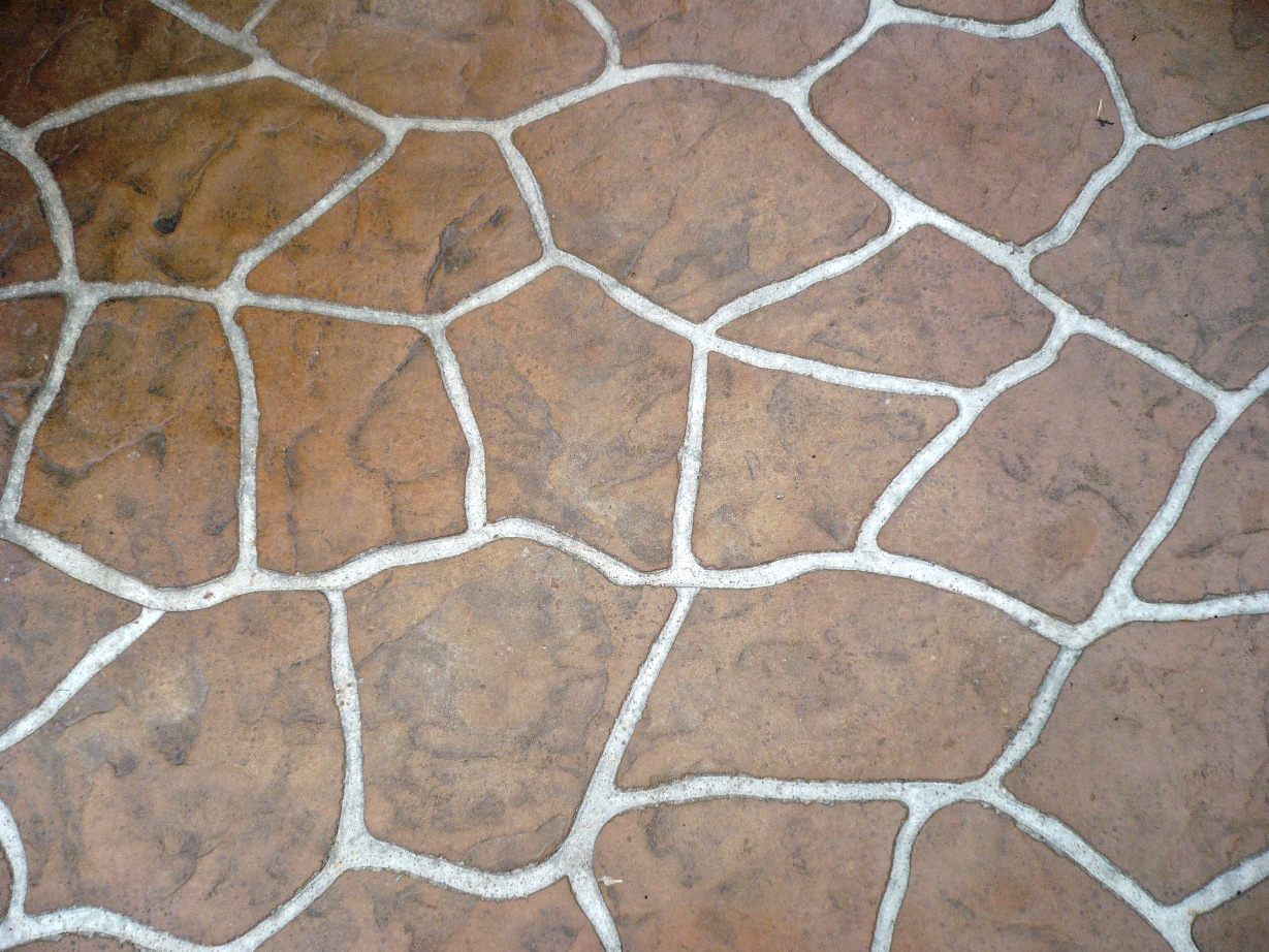 Flagstone Stencil Mesa Buff Autumn Brown, Sandstone, Light Charcoal