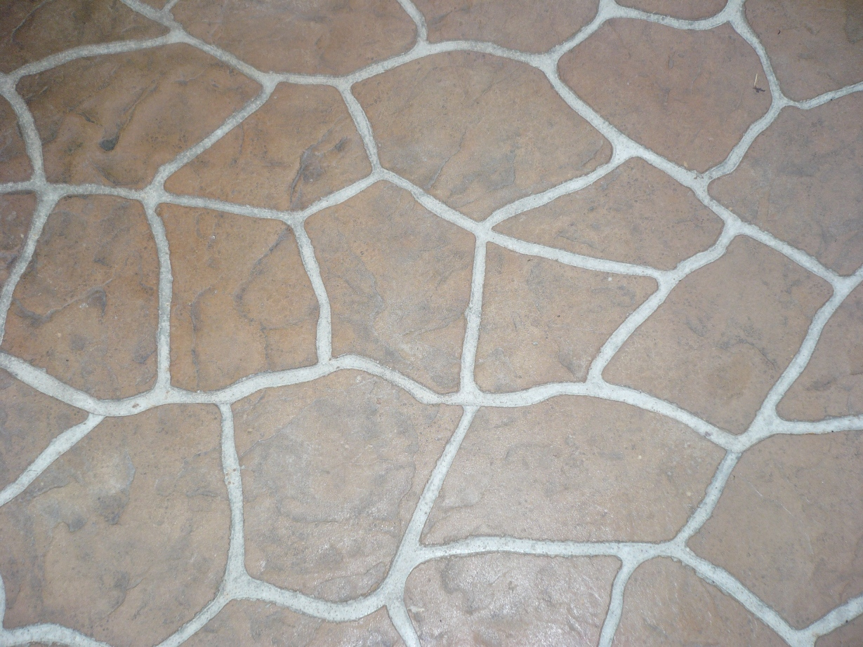 Flagstone Stencil with Mesa Buff Autumn Brown, Sandstone Colors and Light Charcoal Release