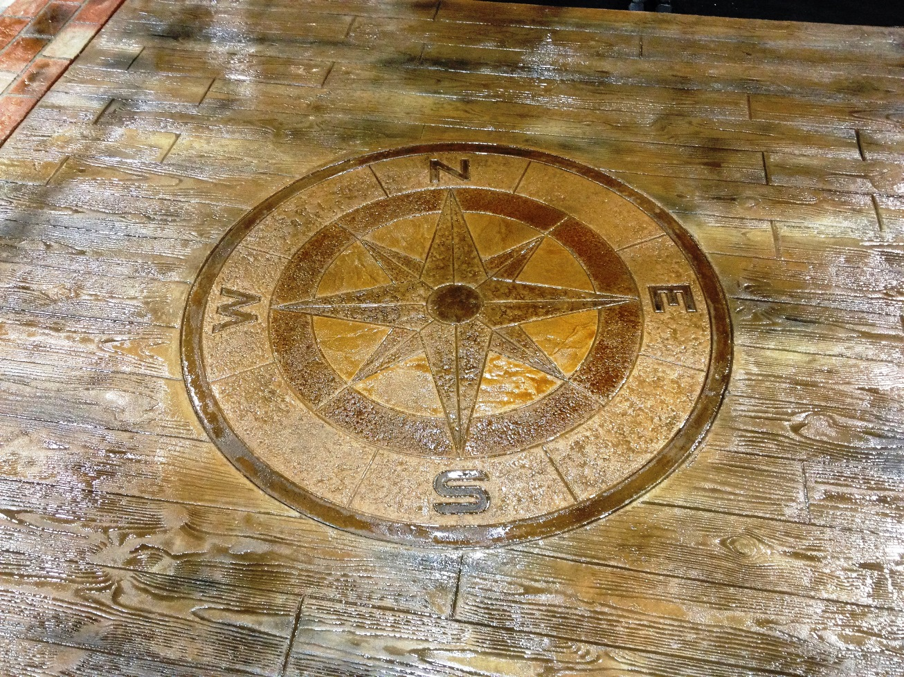 wood plank stamp and compass