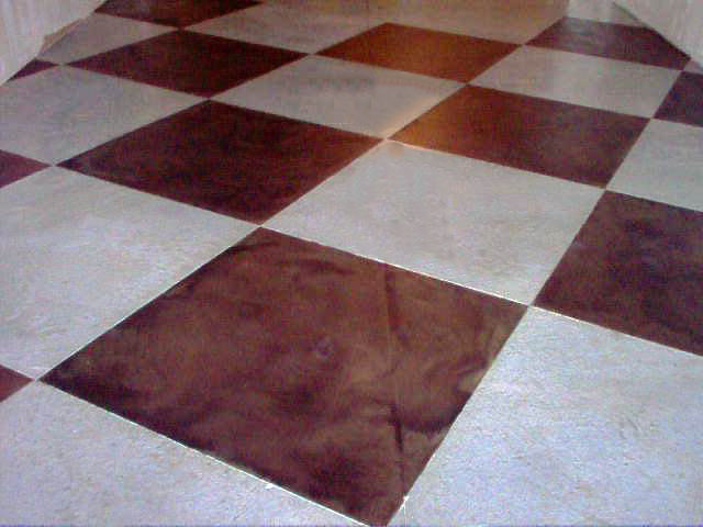 Acid stain with Microtopping, Dark Walnut and white with water based sealer