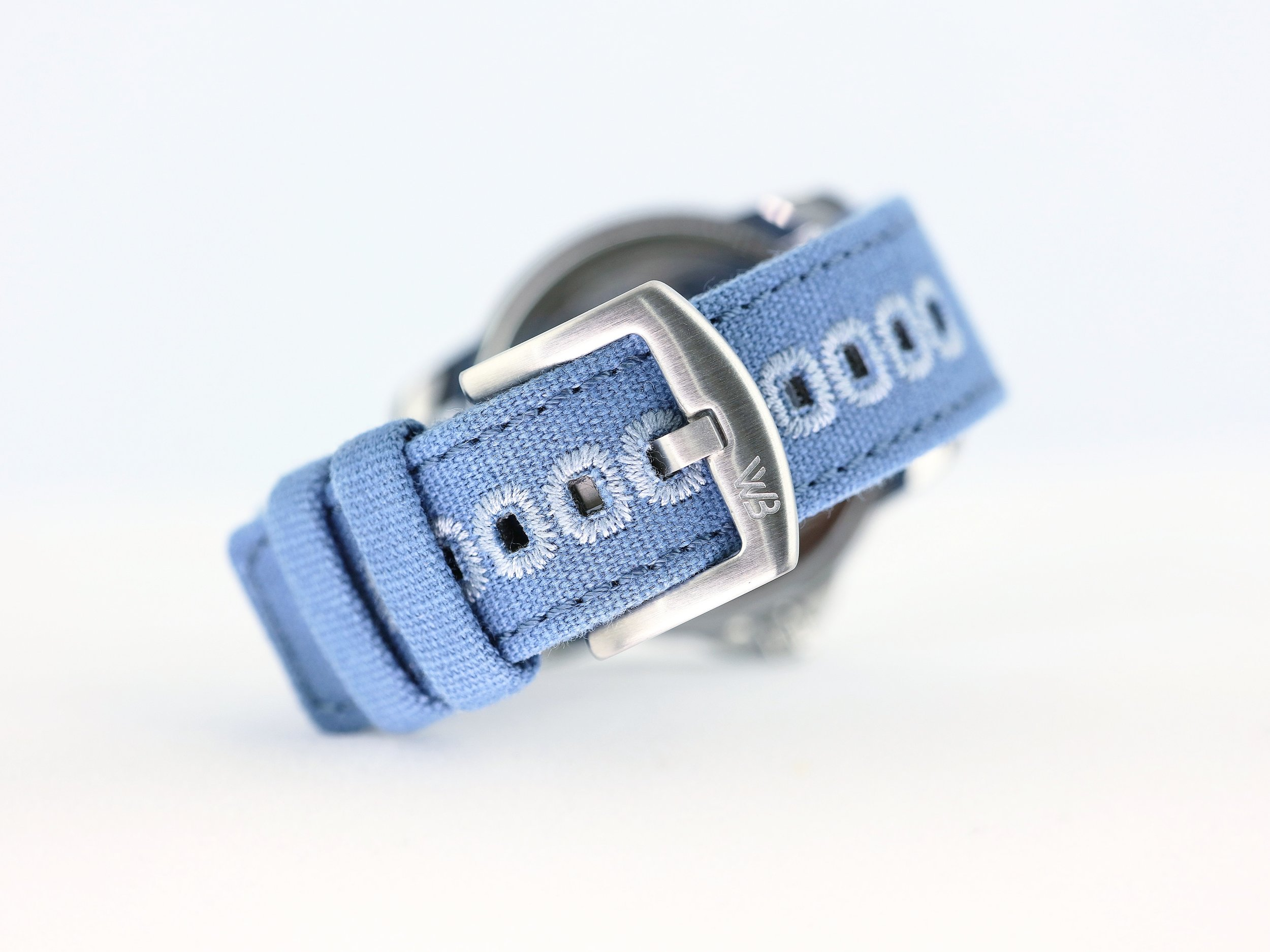 The blue canvas strap from Watchbandit.
