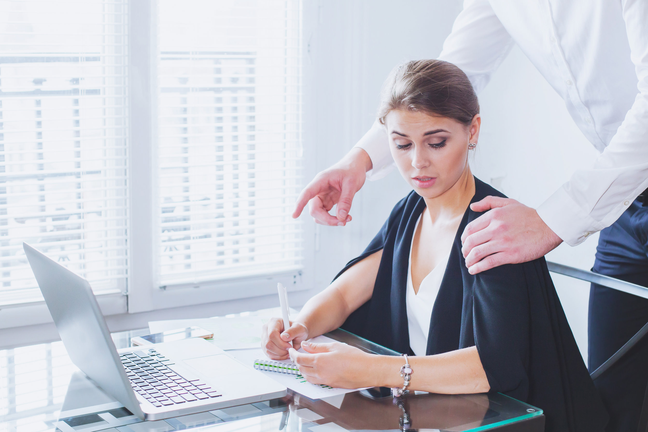 sexual harassment at work, office woman and her lustful boss