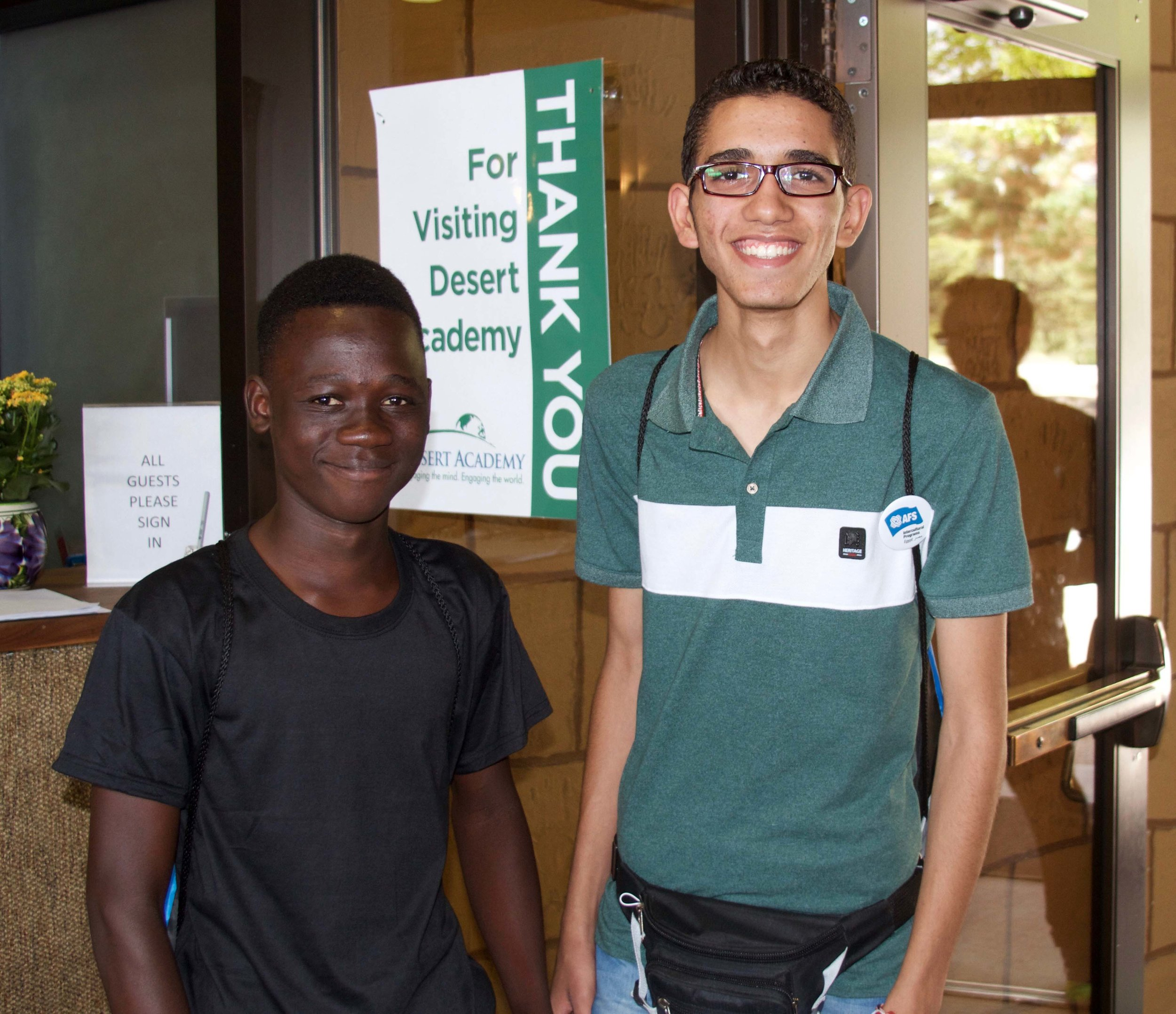 Adam and Moka - Adam (Ghana) and Moka (Egypt) on their first day at Desert Academy!