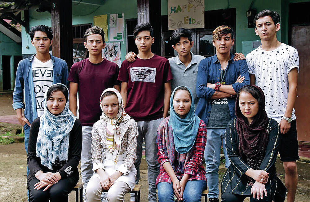 These 10 Afghan refugee teens from the Cisurua Learning Center in Indonesia hope to attend Desert Academy or United World College in New Mexico. Courtesy photo