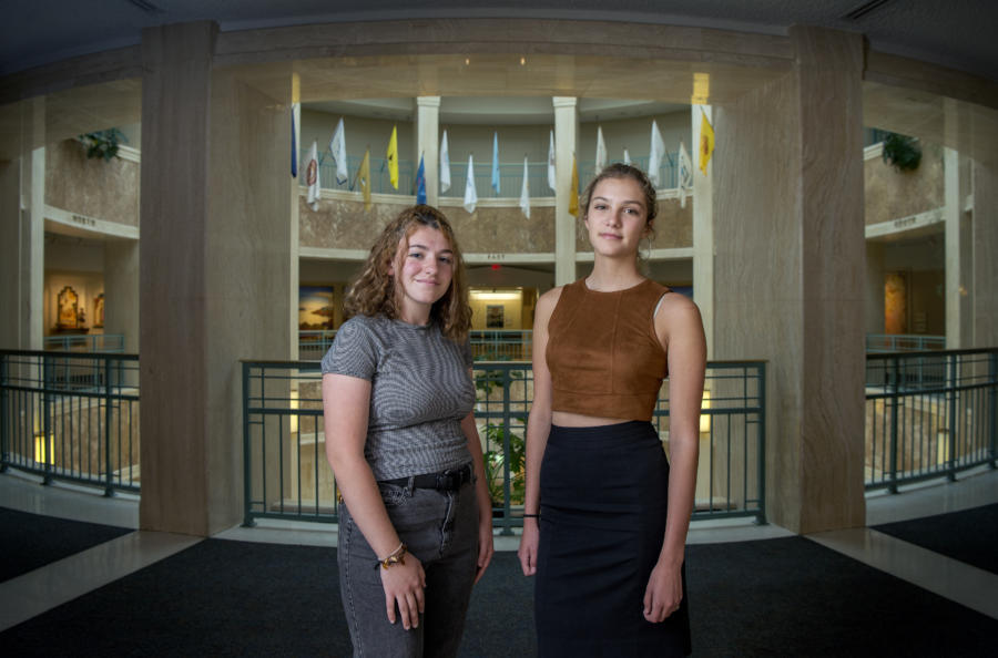 Julia Mazal, left, and Sophia Lussiez, both 16, are working on a bill for the 2019 legislative session intended to hold gun owners liable for improperly secured weapons that end up in the hands of kids. (Eddie Moore/Albuquerque Journal)