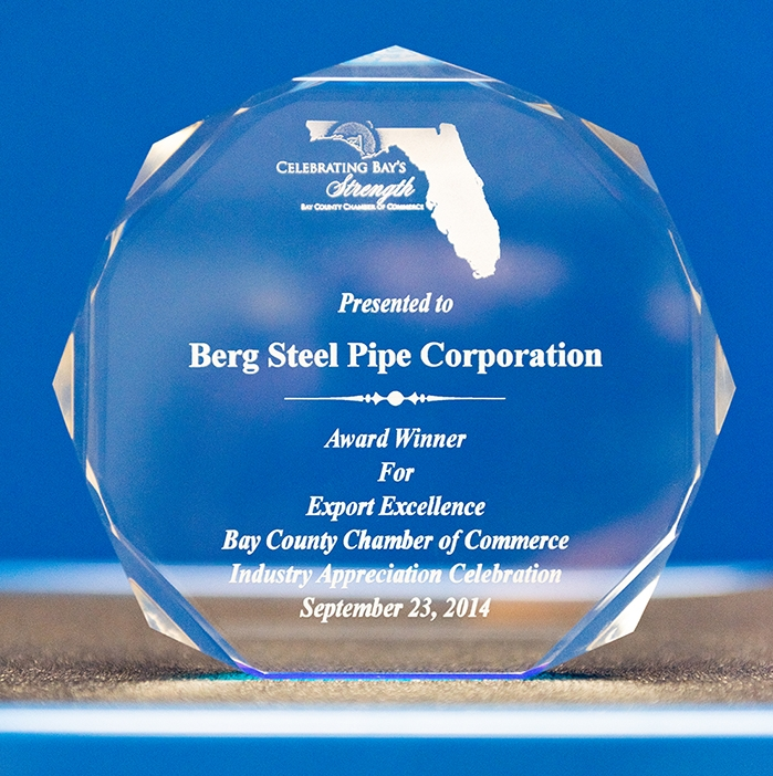 Export Excellence Award - The Export Excellence Award was presented to Berg Pipe by the Bay County Chamber of Commerce in 2014 for growth in producing products for export.