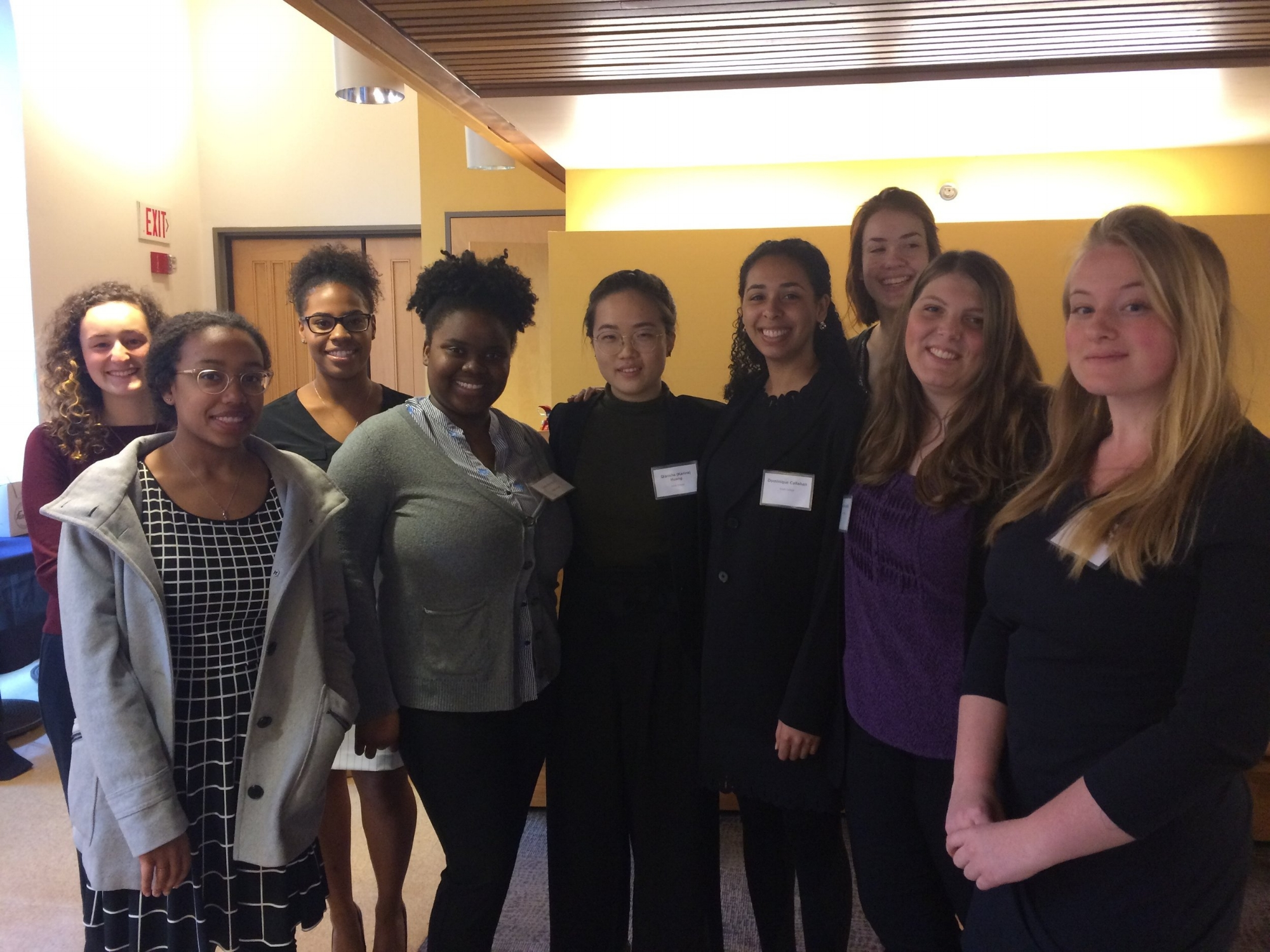 Front row (left to right): Joarvi Edwards, Sasha Shrouder, Karina Huang '18. Dominique Callahan '18, Sarah Leandro, McKenna Hendrickson                    Back row left to right): Maise Smith, Lauren Tinglin, Callie Slevin
