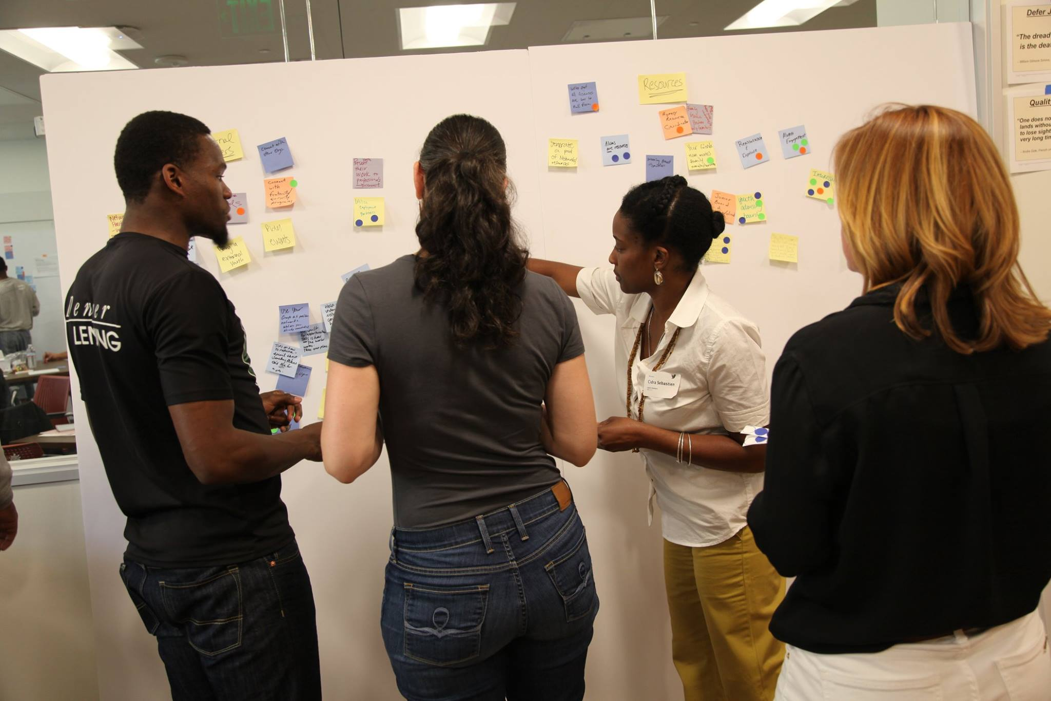 Thrive Foundation for Youth grantees in a design-thinking exercise.