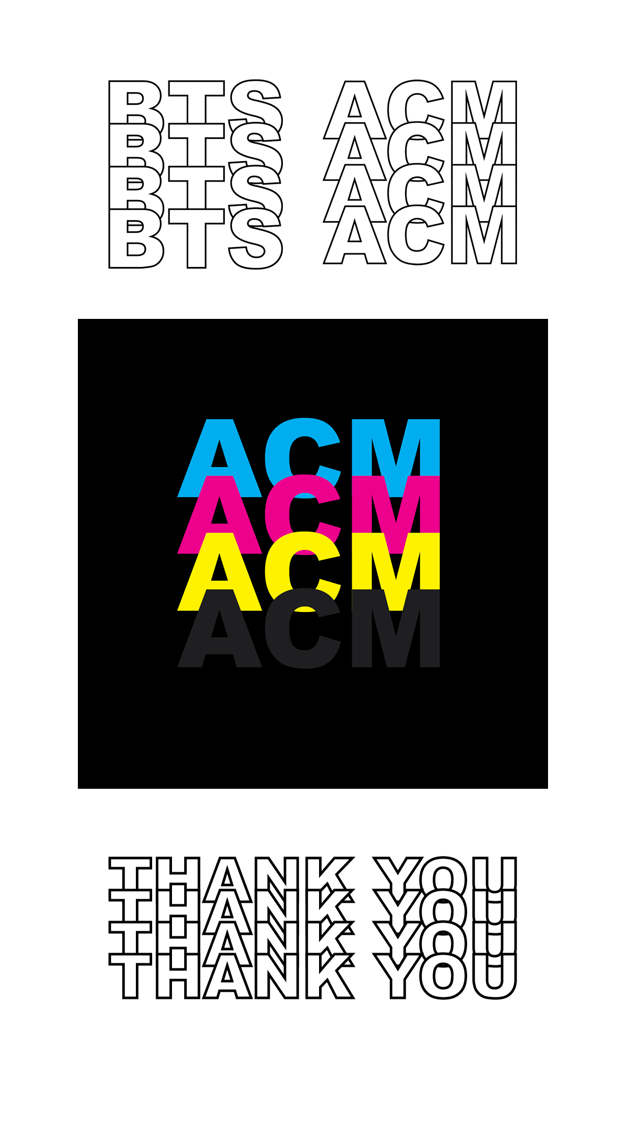ACM logo and ig highlights - Created a new overlapping logo for Art Concept Magazine in both their colors (CMYK) and a minimal black and white design. Also created instagram story highlights in the same minimal B&W design.