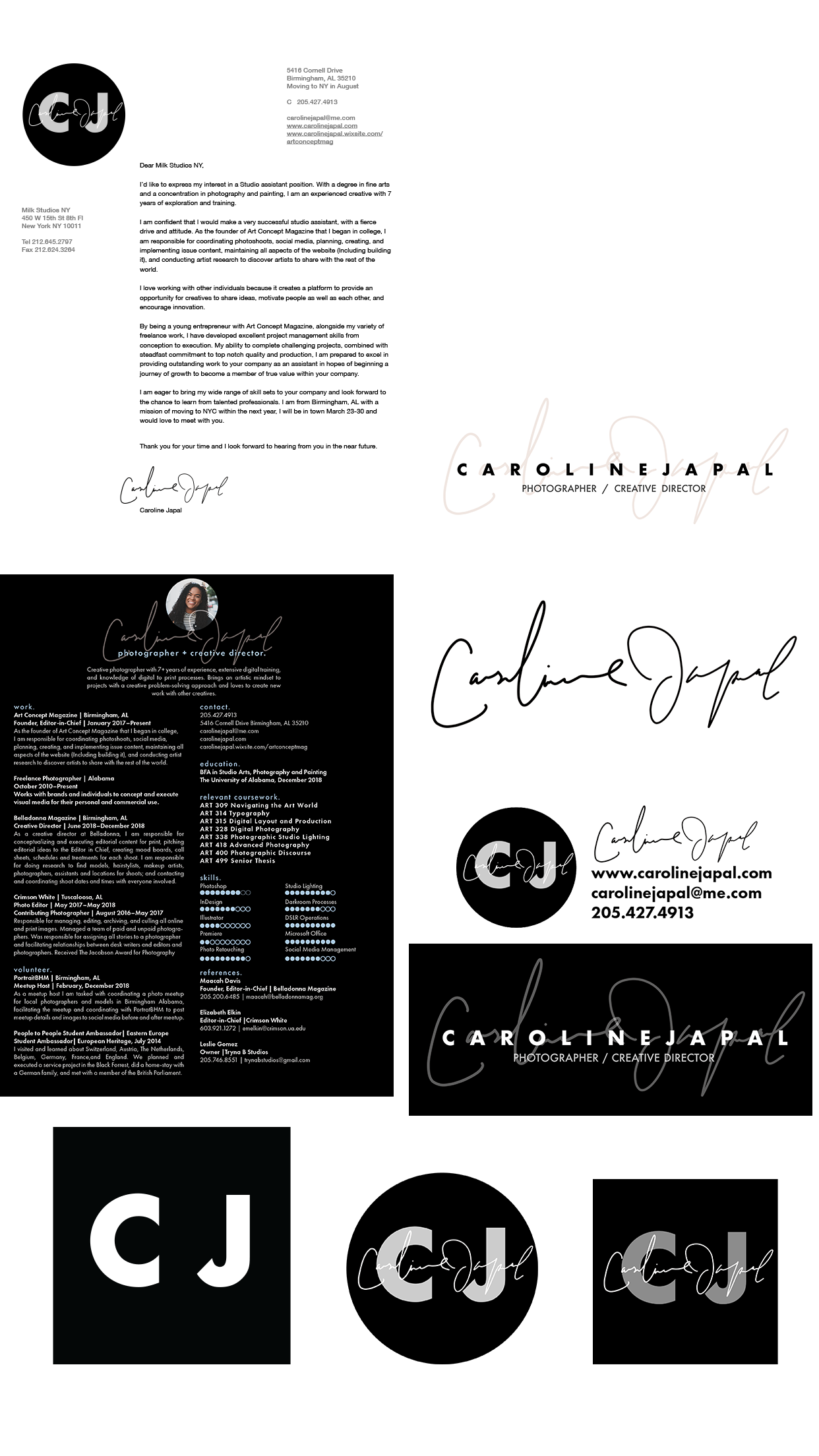 Logo and Assets for Caroline Japal Branding - Created a logo, watermark, and page header that can be added to documents, websites, forms and other types of business materials.