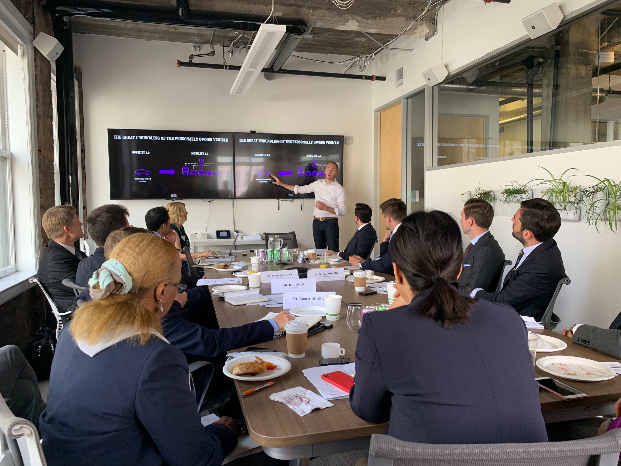 Charles speaking with a European Delegation about the future of mobility.