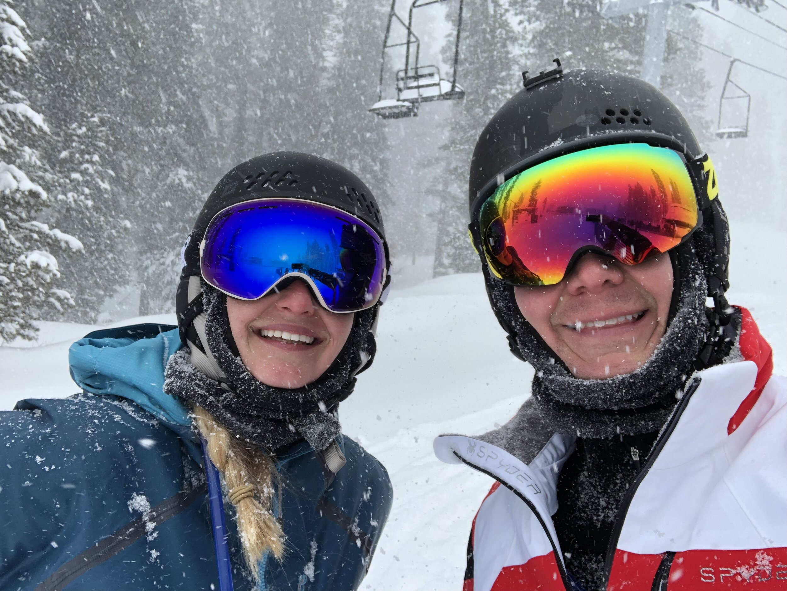 Enjoying a winter storm while skiing in Tahoe