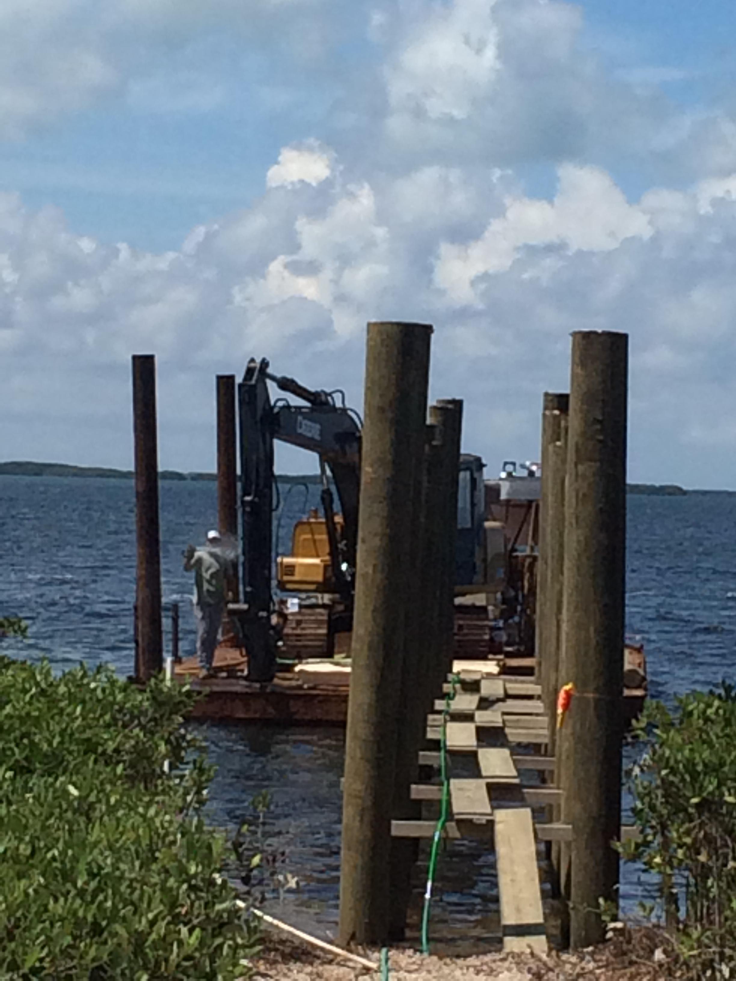 Wood dock construction.