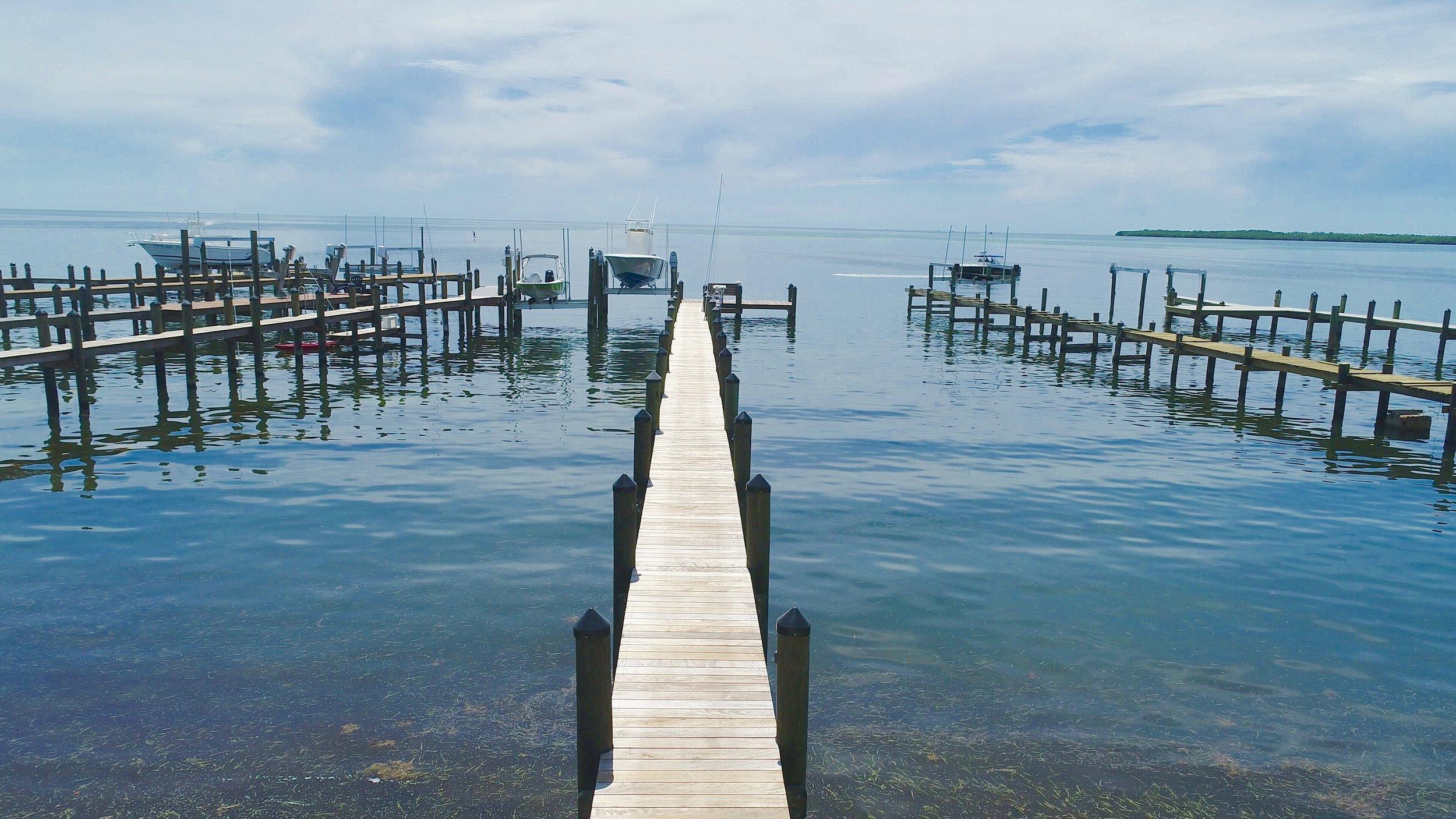 New wood dock in Islamorada, Florida
