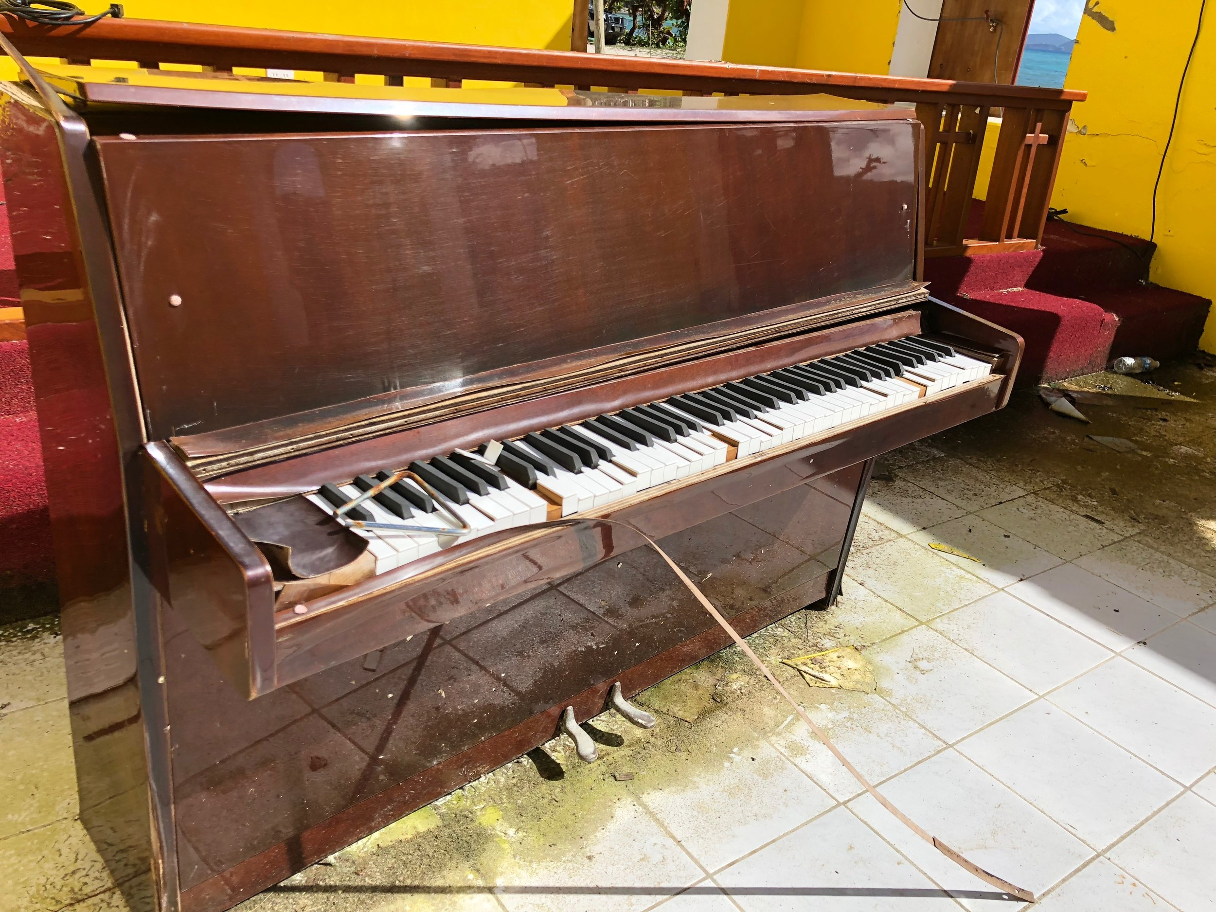 Piano in old Methodist Church, Jost Van Dyke