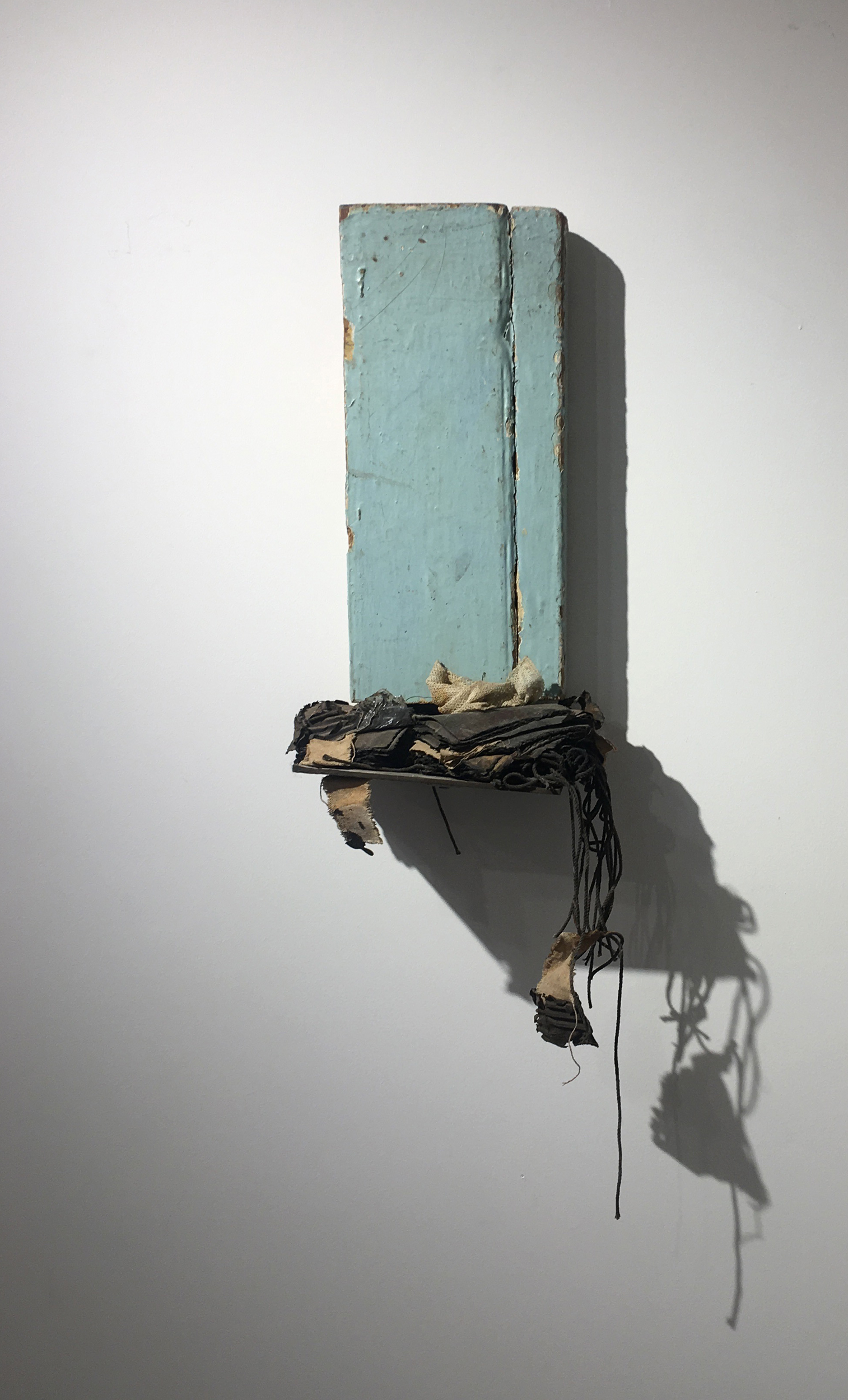 Leonardo Drew  Number 69 , 1998 Painted wood, fabric, paper, and metal construction 28.5 x 9.25 x 5.625 inches