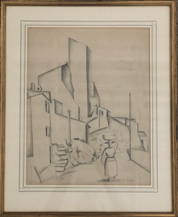 FLORENCE HENRI (1893 – 1982)  Sur la Route , n.d. Pencil on paper 15 x 12 inches