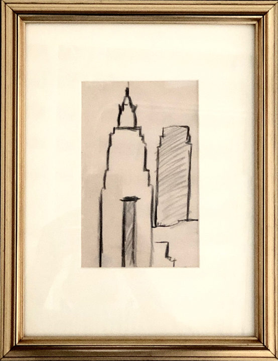 JOSEPH STELLA (1877 – 1946)  Skyscrapers Outline , n.d. Charcoal on paper 7 x 4.25 inches