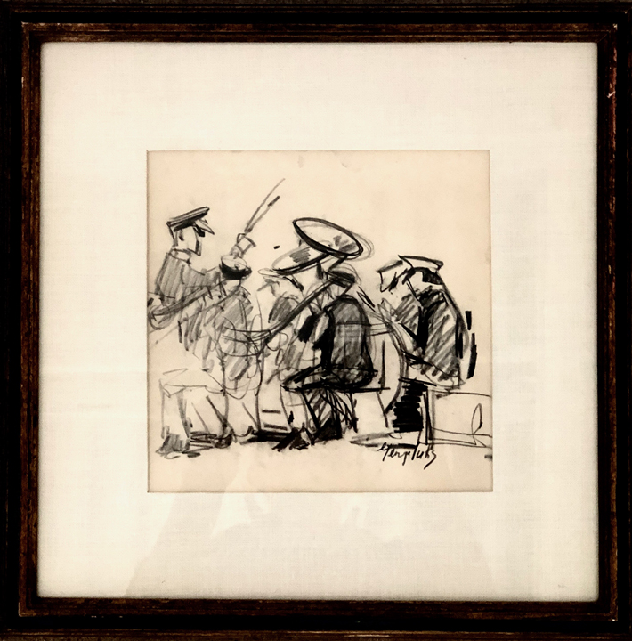 GEORGE LUKS (1867 – 1933)  Band practice , n.d. Graphite on paper 7 3/8 x 7 3/8 inches