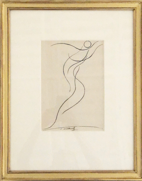 ABRAHAM WALKOWITZ (1878 – 1965)  Flowing Dancer , c. 1911 Ink on paper 10.5 x 7.5 inches