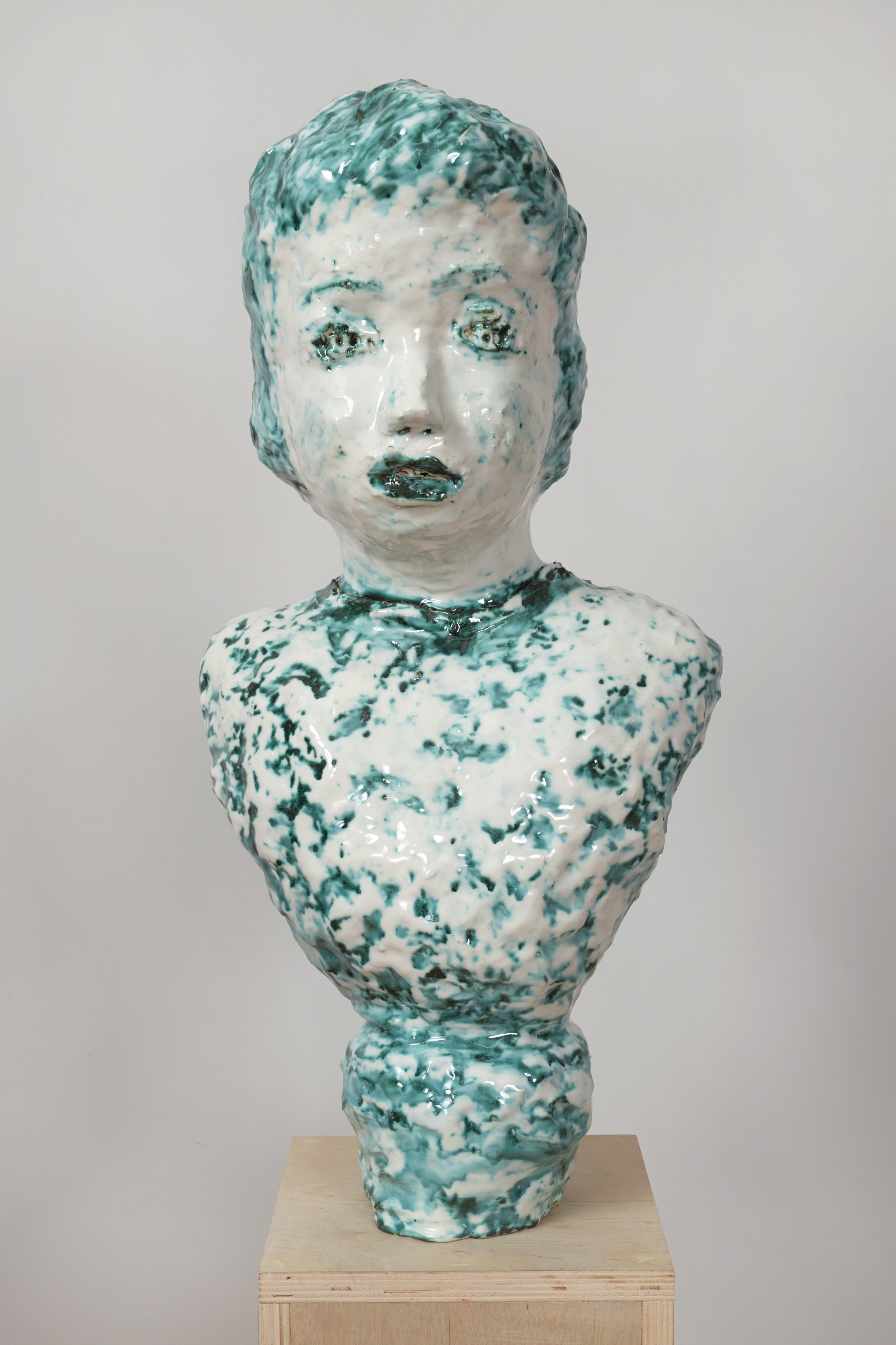 Majolica and Copper Portrait Bust with Twinkling Eyes, 2014