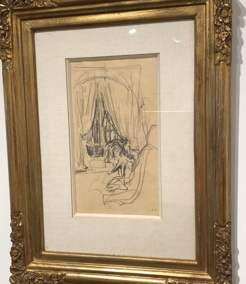 ÉDOUARD VUILLARD (1868 – 1940)  Femme assise devant la fenetre , 1920 Pencil on paper 7.75 x 4.5 inches