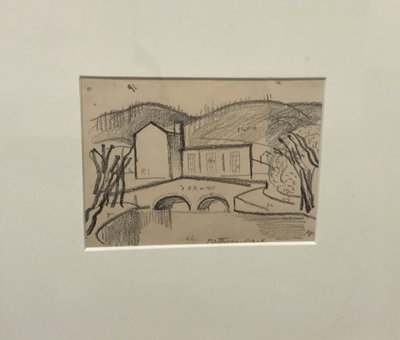 OSCAR BLUEMNER (1867 – 1938)  Patterson Park , n.d. Charcoal on paper 4 x 5.75 inches