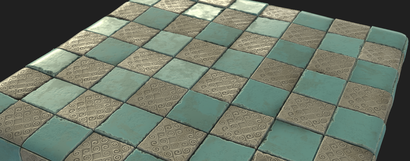 Example of using curl noise to add interesting decorative patterns to a tiling floor texture.