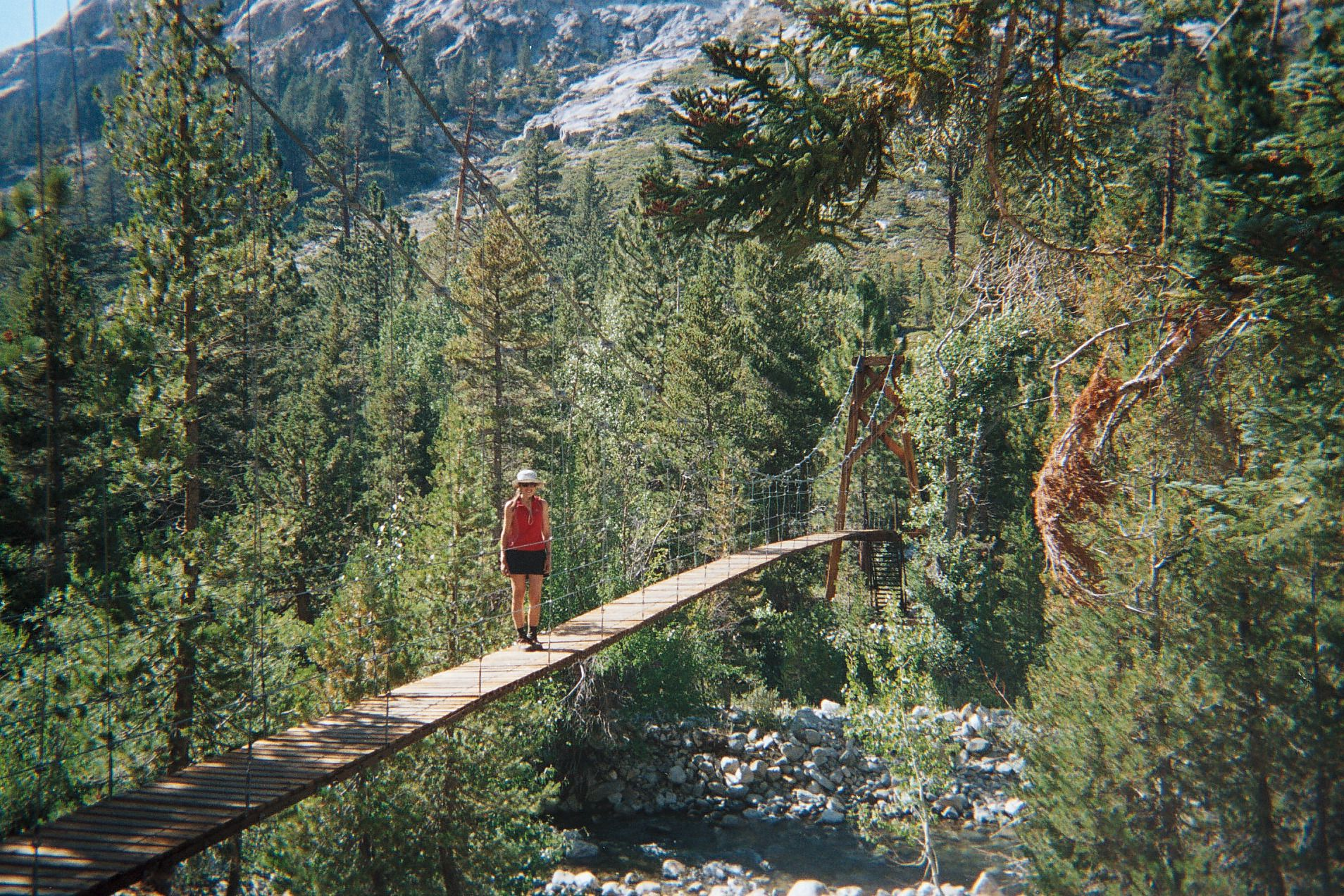 Tanya on the Woods Creek Bridge, John Muir Trail. Photo by Mark Probert.