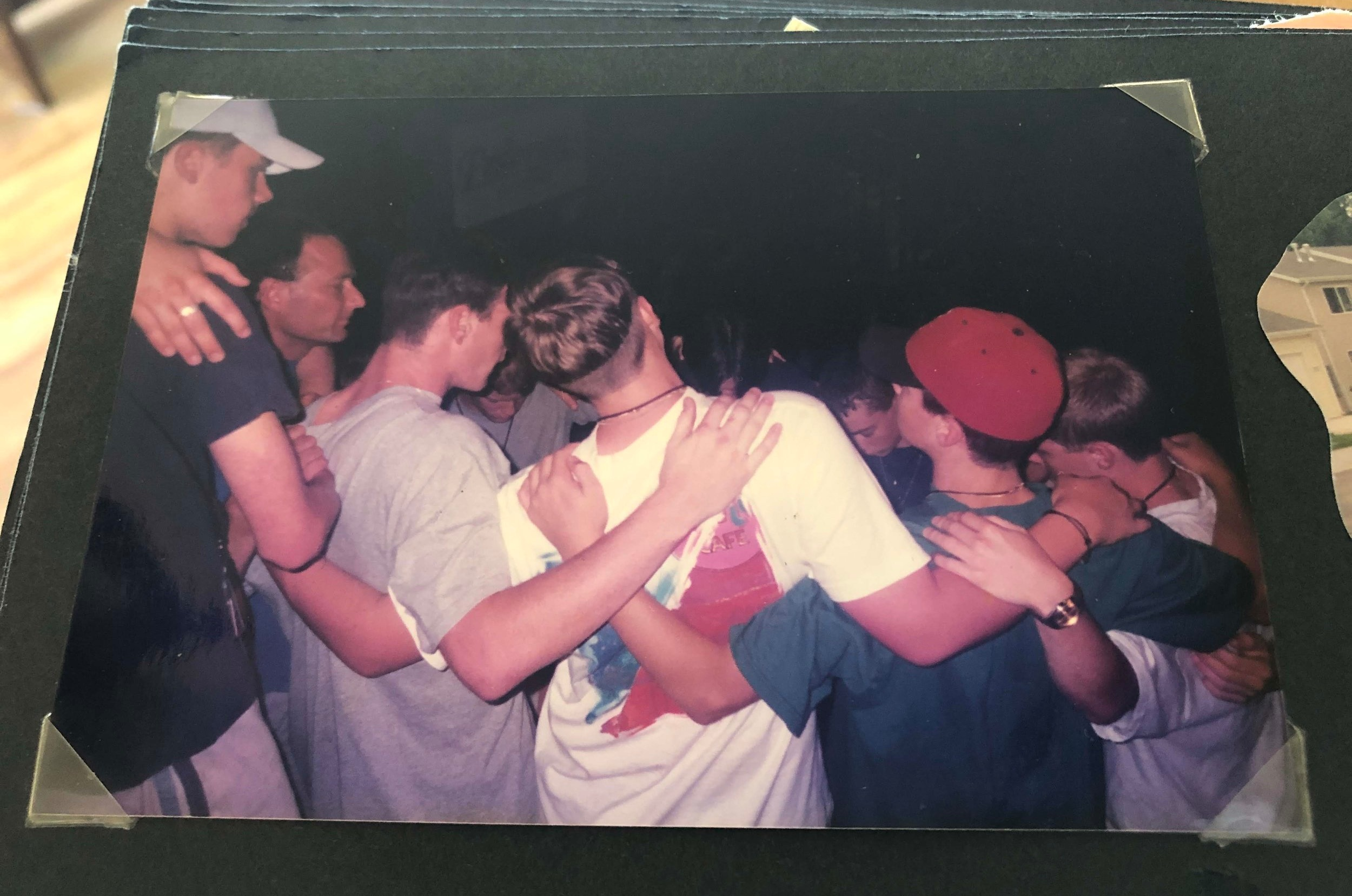 Praying in the Moby Arena, Colorado State University 1997. There was a disastrous flash flood while we were there for a youth conference.