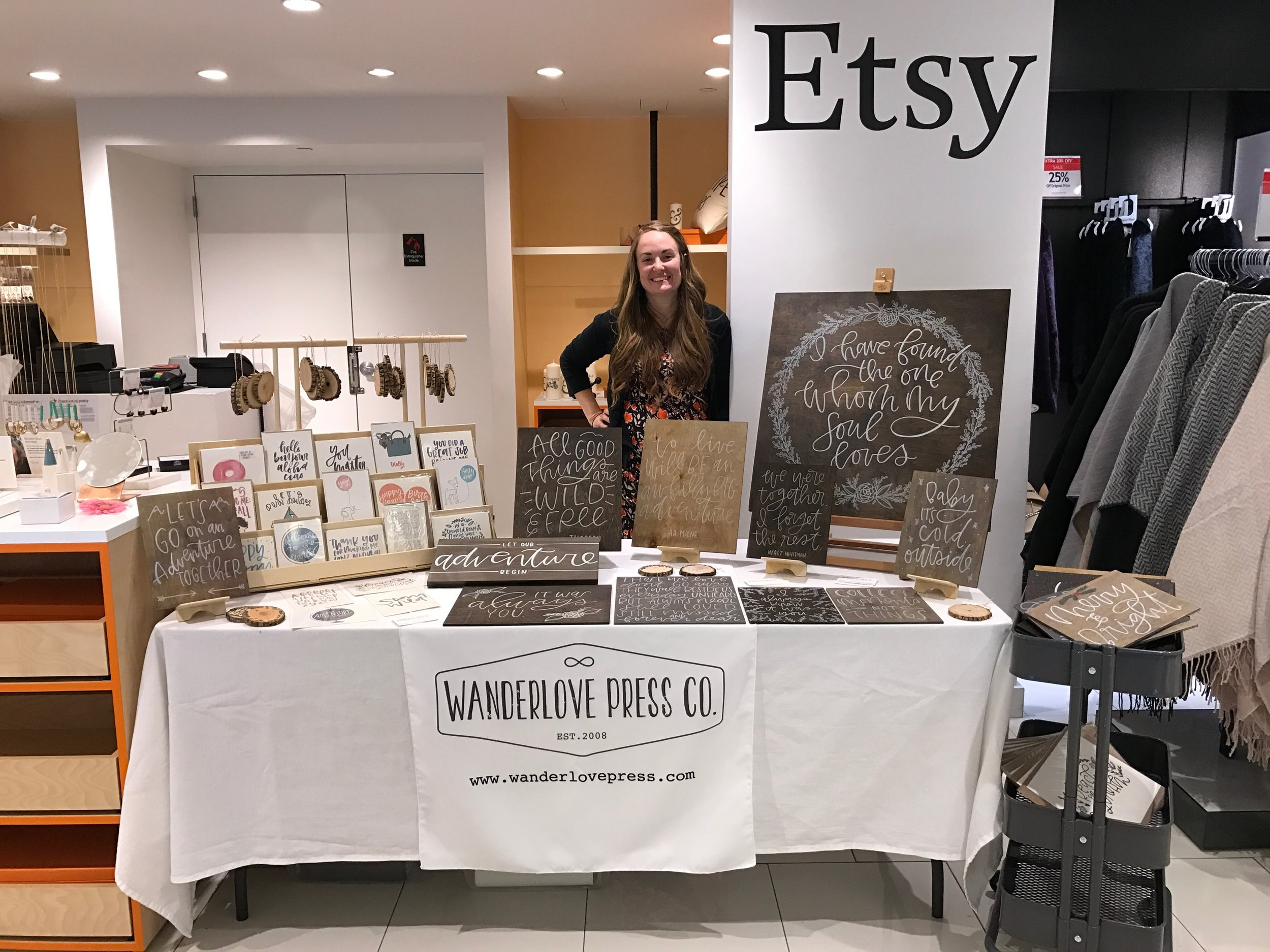 A simple table set up for a wholesale show at Macy's Herald Square. From Wanderlove Calligraphy + Design.