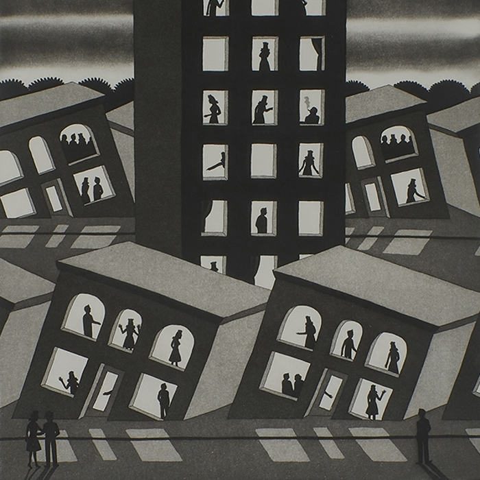 Cover art: Roger Brown ,  Standing Around While All Are Sinking  (crop)