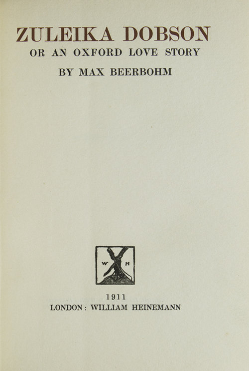 Max Beerbohm, Zuleika Dobson [London; 1911] - I've been a fan of Max Beerbohm's sedulous prose for twenty years, and of British comic fiction as a genre for even longer, so why it took me this long to read his only novel, a celebrated classic of comic fiction, is unaccountable. I can only guess that I like having things in reserve, something to get around to; and while my appetite for information in the abstract is wolfish, taking up specific works (especially if they've acquired any kind of patina in my mental library) is fraught. What if the spell doesn't work?It works.I tried to parcel this out, one chapter a night, all week, but over the weekend I fell too deeply in love and just charged through. It's an extraordinary achievement, a work of high irony and filigreed texture, a Wildean fairy-tale set in the world of one of Wilde's society plays but with all of Wilde's wild hope expunged. The entirety of the plot could be contained in an anecdote, and I wouldn't be surprised to find its outline somewhere in the back chapters of Ovid or the Arabian Nights; but while there are absolutely grounds for considering it misogynistic, I prefer to think of it as expressing (with faultlessly unctuous irony) a scholarly, asexual* horror at the violence and egotism of heterosexual passion.But pulling too hard at the lacy web to extract any themes would be foolish; for all its black humor,Zuleika Dobsonis too delicate and balanced for the heavy machinery of analysis, whether Marxist or feminist or any other I'd happily apply to a sturdier text. Granted that the entirety of the late Victorian or Edwardian Oxford world Beerbohm writes about (or imagines, and then writes about) is a criminal enterprise for maintaining wealth and power at the expense of the other 9/10ths of the world, the fact doesn't make it one scintilla less beautiful, or hilarious.*The first time I can remember seeing the word asexual applied to a person was in a biographical sketch of Max Beerbohm; whose, I can