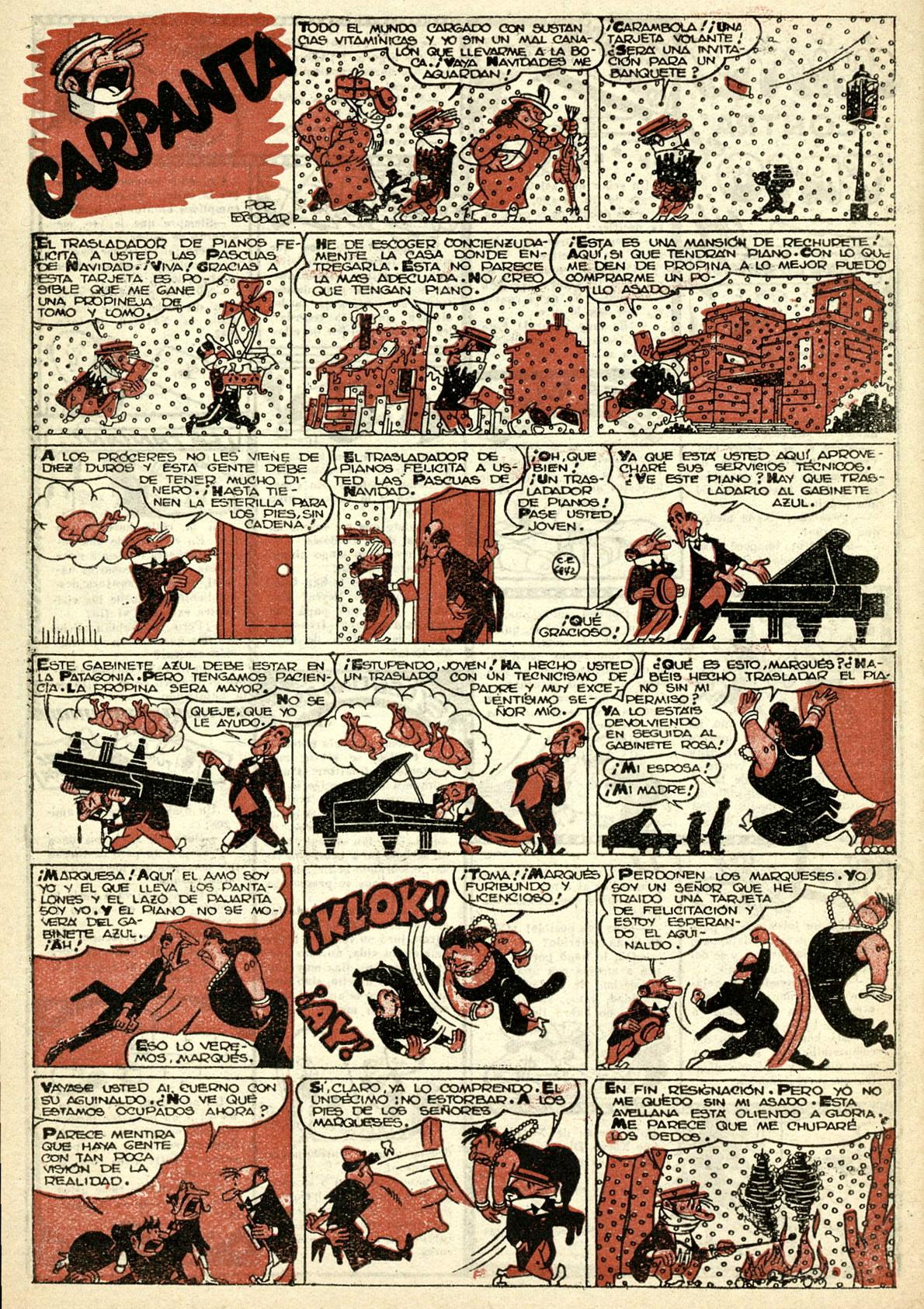 """""""Carpanta"""" from  Pulgarcito Almanaque 1951 ."""