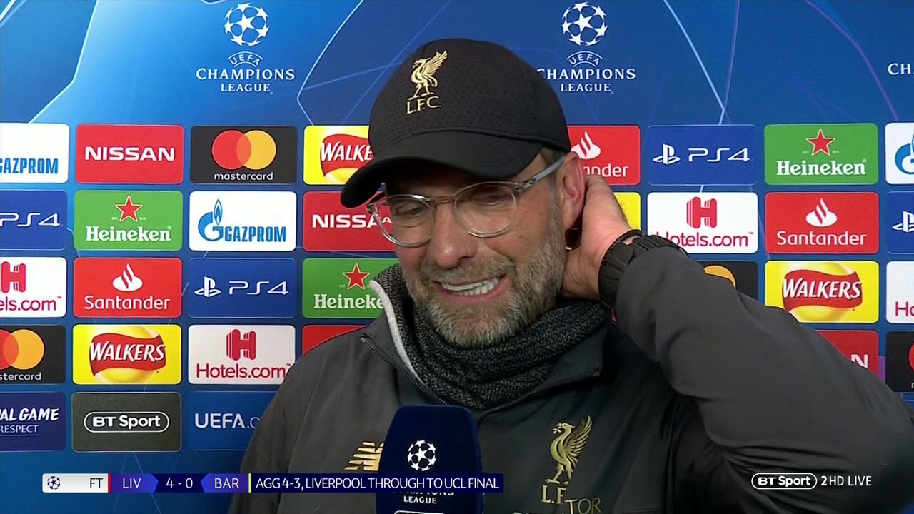 """They are f*!king mentality monsters"", Jurgen Klopp in a live interview on Sky Sports"
