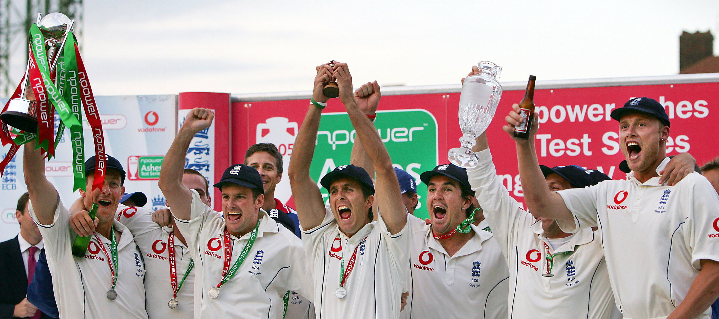 A young leader, Michael Vaughan, celebrates with his team mates after beating one of the best cricket teams to ever play the game in 2005.