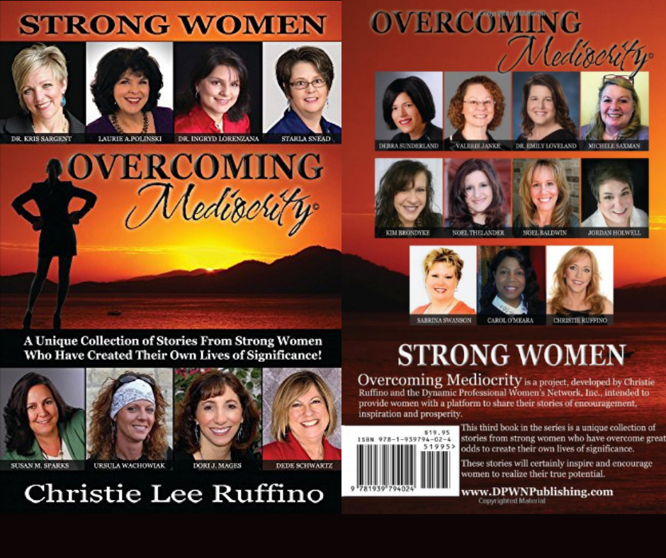 Get the book! - Overcoming Mediocrity not only has my story - but is a unique collection of stories from strong women who have overcome great odds to create their own lives of significance. These stories are aimed to inspire and encourage women (and men!) to realize their true potential.