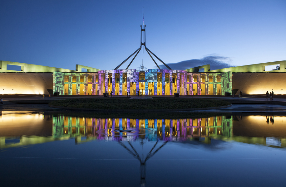 The photo of Enlighten on Parliament House and the Balloon Festival are courtesy of the Crown Plaza Hotel Canberra