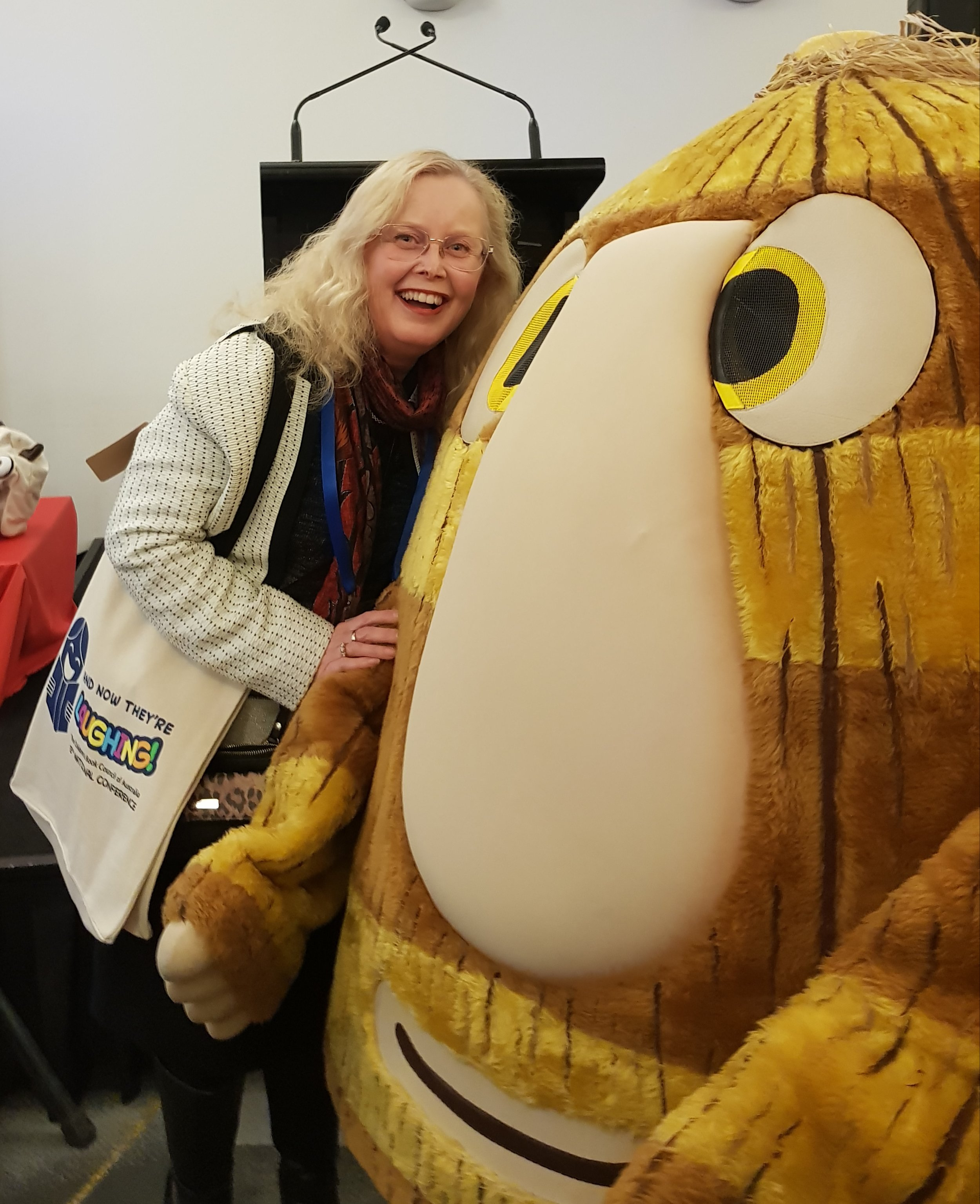 Me with Grug, Happy 40th birthday to an iconic children's book character at the CBCA conference.