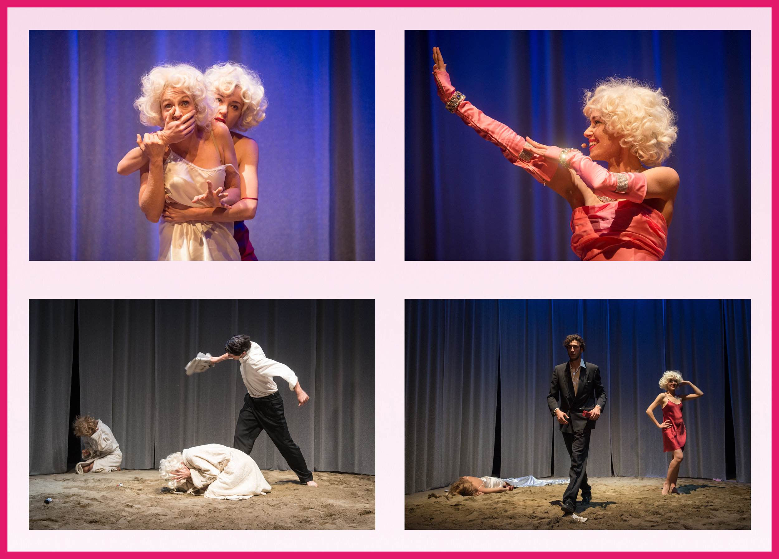 Progression of Marilyn/ Norma Jeane's life unfolding on stage at the Italian debut