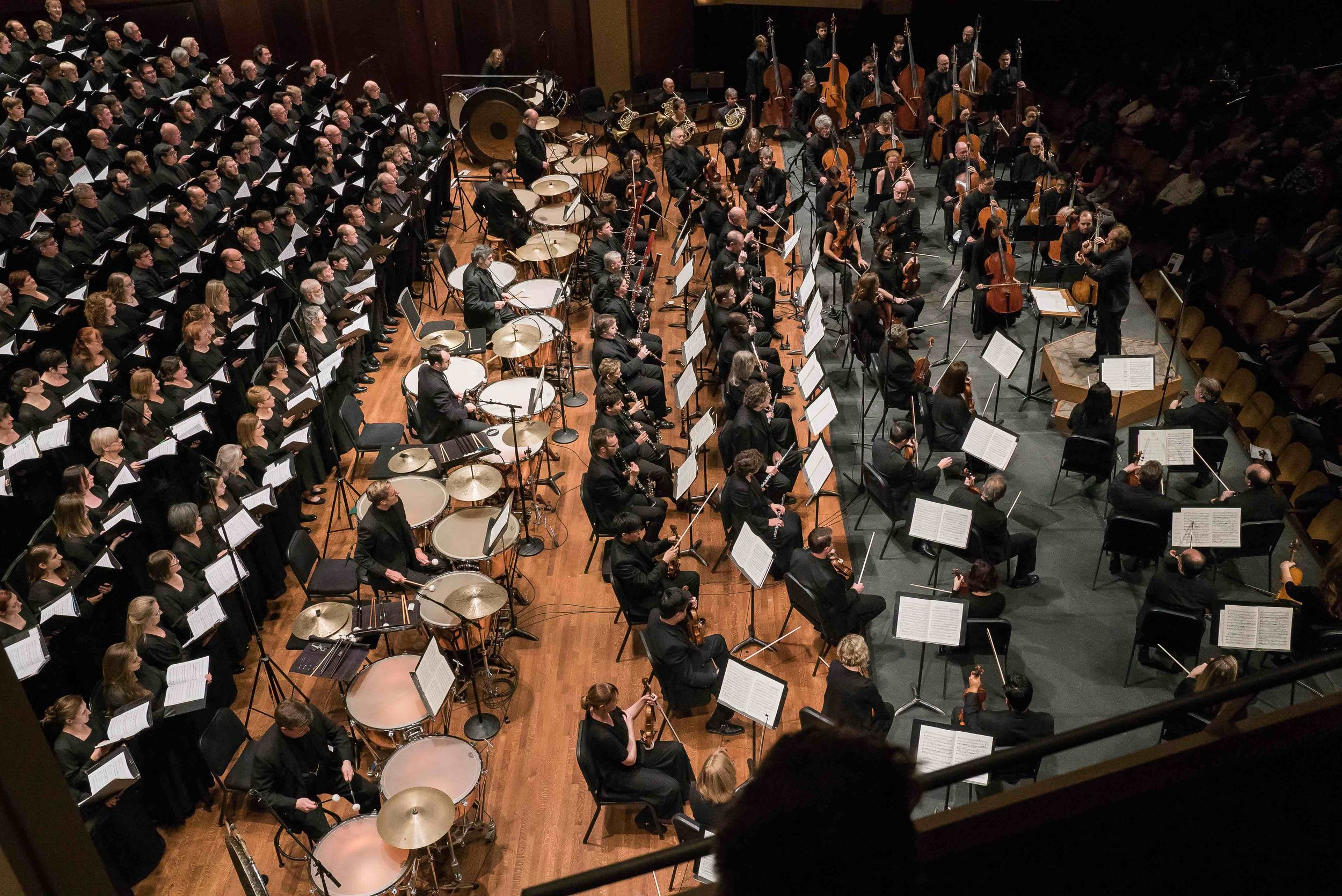 Eighteen timpani featured on stage at Benaroya Hall during the performance of Berlioz's Requiem. Photo by Brandon Patoc.