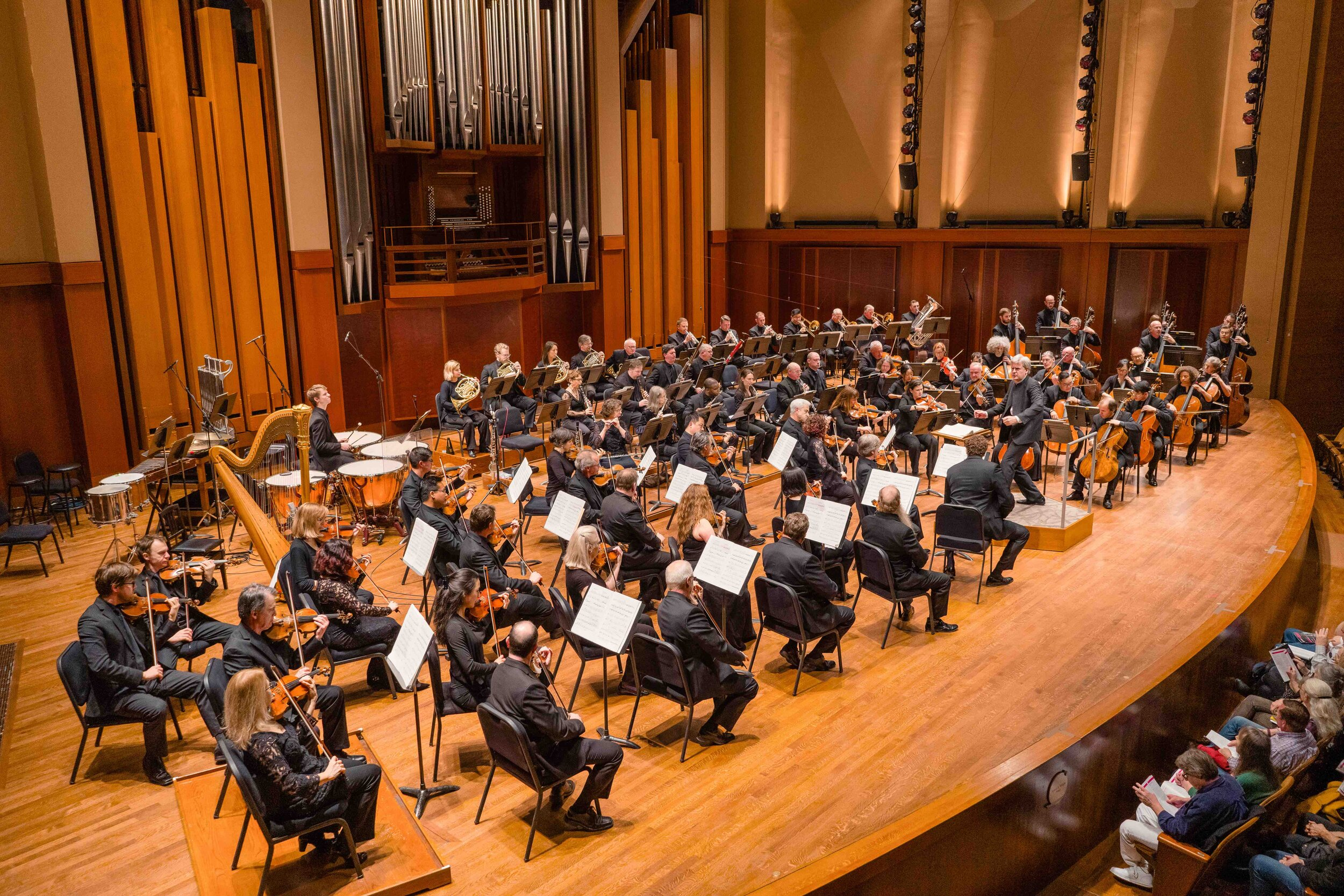 Thomas Dausgaard and the Seattle Symphony bring Strauss' An Alpine Symphony to audiences at Benaroya Hall in June 2017. The ensemble bolstered extra woodwinds and horns, two tubas, and exotic percussion such as a wind machine and thunder sheet. Photo by Brandon Patoc.