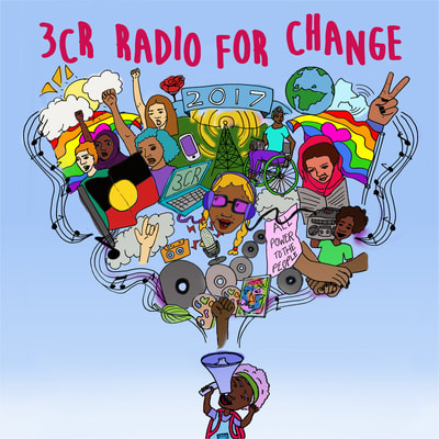 3CR Community Radio: Flyer for Radiothon fundraising week. #radioforchange