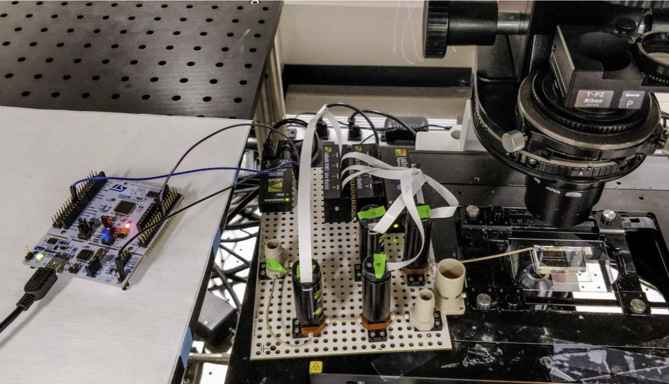 Pumping system controlled by a microcontroller connected to the microfluidic chip is shown.